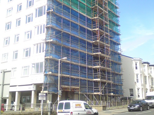 Apex scaffolding erected at Regency Court, Blackpool