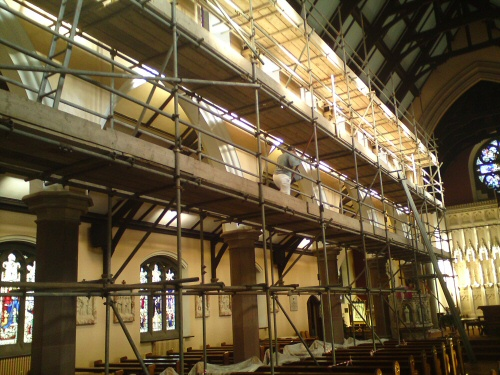 Apex scaffolding erected to the interior of St Kentigern's Church, Blackpool
