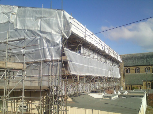 Apex scaffolding erect a temporary roof to a terrace of four hotels in Blackpool